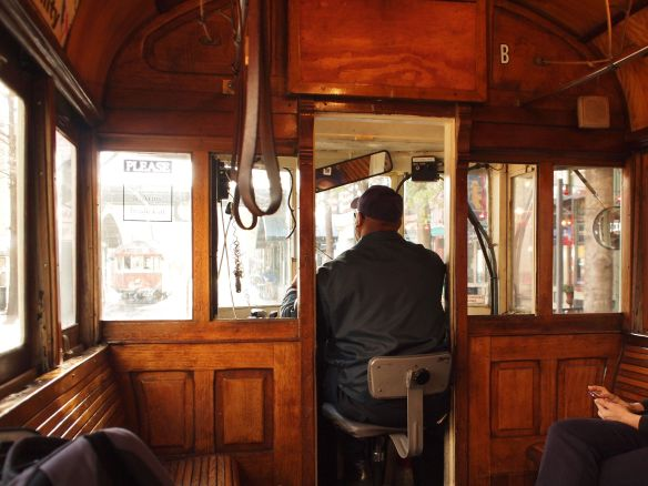 Inside the trolley with James.