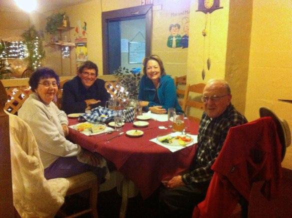Lucille, Hans Einar, Me, Julian at Otto and Anita's Restaurant