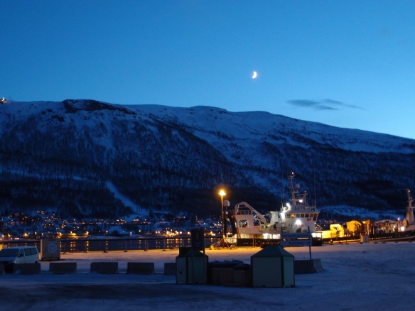 Crescent moon over Tromsø